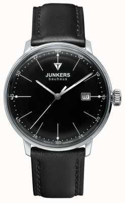 Junkers Mens Bauhaus Black Dial Black Leather Strap 6070-2