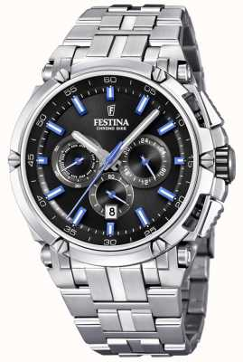 Festina Mens Chronobike 2017 Stainless Steel Black With Blue Details F20327/7