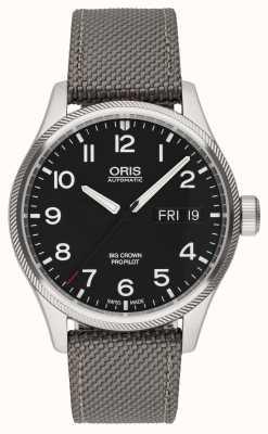 Oris Big Crown Propilot Day Date Black Fabric Strap Black Dial 01 752 7698 4164-07 5 22 15FC