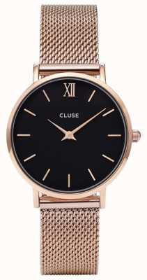 CLUSE Minuit Rose Gold Case Black Dial/rose Gold Mesh Strap CL30016