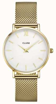 CLUSE Minuit Gold Case White Dial/gold Mesh Strap CL30010