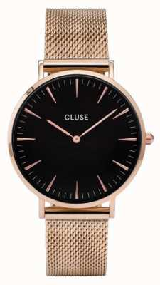 CLUSE La Boheme Rose Gold Case Black Dial/rose Mesh Strap CL18113