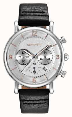 GANT Mens Springfield Black Leather Strap Silver Dial GT007001
