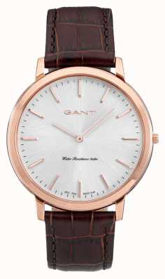 GANT Mens Harrison Brown Leather Strap White Dial W70606