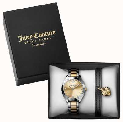 Juicy Couture Womans Two Tone Watch And Black Bracelet Gift Set 1950012