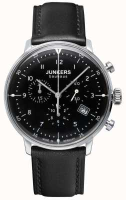 Junkers MENS BAUHAUS CHRONOGRAPH BLACK LEATHER STRAP BLACK 6086-2