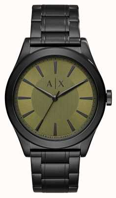 Armani Exchange Mens Nico Black Plated Stainless Steel Green Dial AX2333