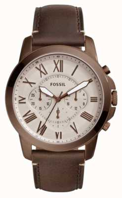 Fossil Mens Grant Chronograph Brown Leather Strap FS5344