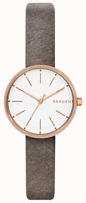 Skagen Womans Signatur Rose Gold With Grey Leather Strap SKW2644