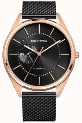 Bering Mens Automatic Milanese Black Steel Bracelet 16243-166