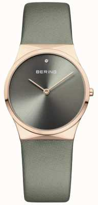 Bering Womans Classic Satin Strap With Sunray Dial Green 12130-667