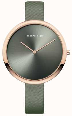 Bering Womans Classic Satin Leather Strap Sunray Dial Green 12240-667