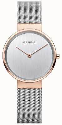 Bering Womans Classic Silver Milanese Strap Rose Gold Case 14531-060