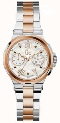 Gc Womans Structura Day Date Two Tone Watch Y29002L1