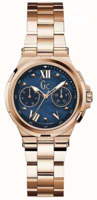 Gc Womans Structura Day Date Rose Gold Tone Watch Y29003L7