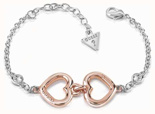 Guess Grace 2 Heart Crystal Logo Bracelet Rhodium And Rose Gold UBB84045-L