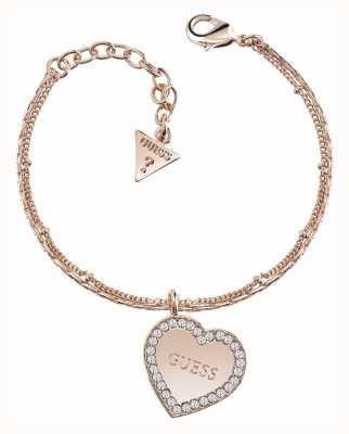 Guess My Sweetie Framed Heart Bracelet Rose Gold UBB84082-L