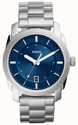 Fossil Mens Machine Watch Stainless Steel Blue Dial FS5340
