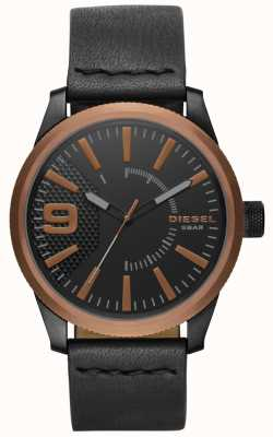 Diesel Mens Rasp Black Leather Watch DZ1841