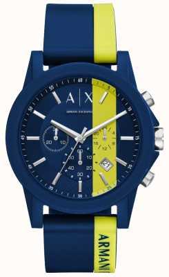 Armani Exchange Mens Blue Stripe Silicone Chronograph AX1332