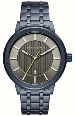 Armani Exchange Mens Blue Tone Metal Bracelet AX1458