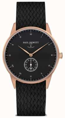 Paul Hewitt Unisex Signature Black Leather Braided Strap PH-M1-R-B-21M
