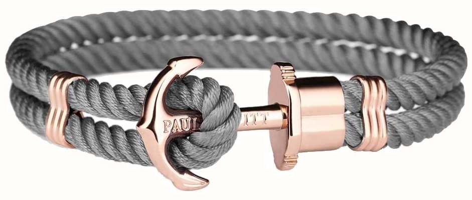 Paul Hewitt Phrep Rose Gold Anchor Grey Nylon Bracelet XX Large PH-PH-N-R-GR-XXL