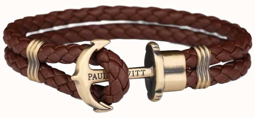 Paul Hewitt Jewellery Phrep Brass Anchor Brown Leather Bracelet XX Large PH-PH-L-M-BR-XXL