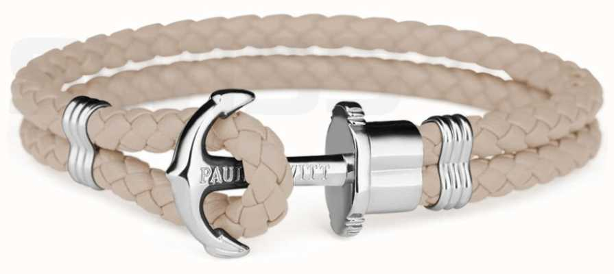 Paul Hewitt Phrep Silver Anchor Hazlenut Leather Bracelet Large PH-PH-L-S-H-L