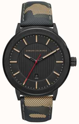 Armani Exchange Mens Camo Strap Black Dial Watch AX1460