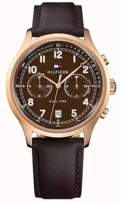 Tommy Hilfiger Mens Emerson Brown Leather Strap Watch 1791387