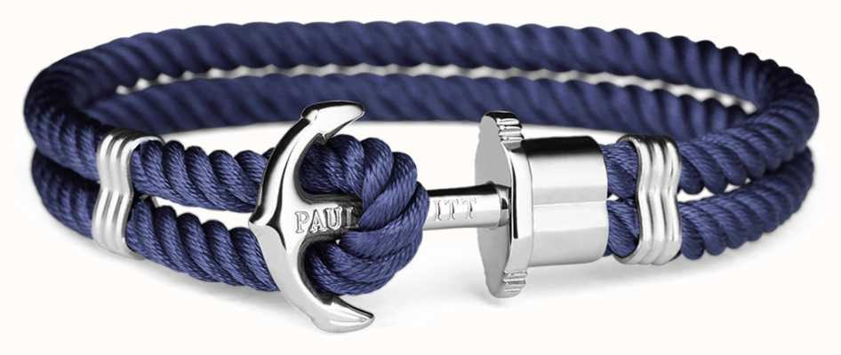 Paul Hewitt Phrep Silver Anchor Navy Nylon Bracelet PH-PH-N-S-N-M