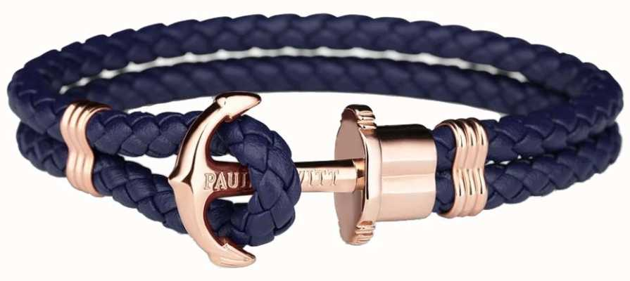 Paul Hewitt Jewellery Phrep Rose Gold Anchor Navy Leather Bracelet Medium PH-PH-L-R-N-M