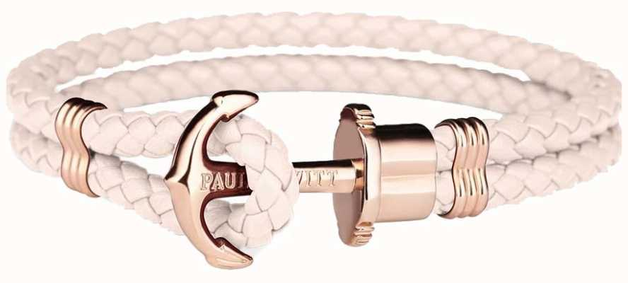 Paul Hewitt Phrep Rose Gold Anchor Pink Leather Bracelet Medium PH-PH-L-R-PR-M