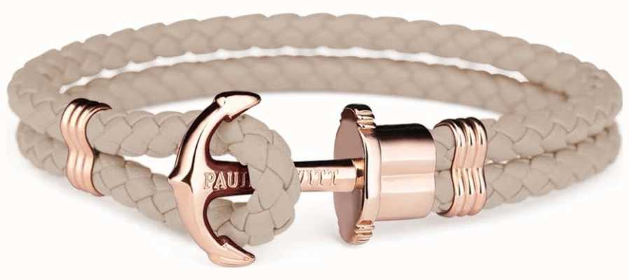 Paul Hewitt Phrep Rose Gold Anchor Hazlenut Leather Bracelet Medium PH-PH-L-R-H-M