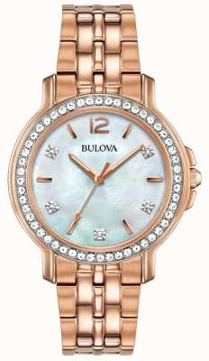 Bulova Womans Rose Gold Tone Crystal Watch 98L243