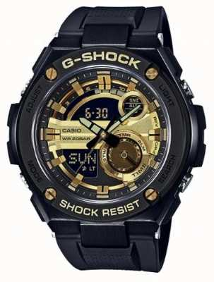 Casio G-Steel Black And Gold Rubber Straps Mens G-Shock GST-210B-1A9ER