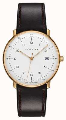 Junghans Max Bill Quartz | Black Leather Strap | Gold Plated Case 041/7872.04