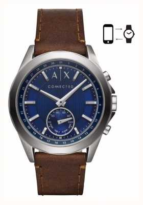Armani Exchange Mens Hybrid Smartwatch Brown Leather Strap Blue Dial AXT1010