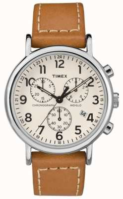 Timex Mens Weekender Chronograph Tan Leather Strap TW2R42700D7PF