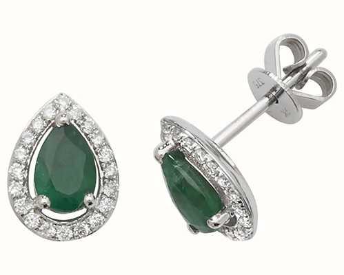 Treasure House 9k White Gold Teardrop Diamond Emerald Halo Stud Earrings ED248WE