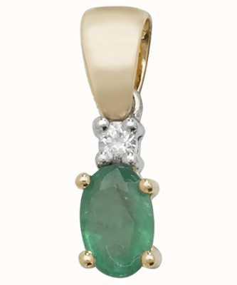 James Moore TH 9k Yellow Gold Oval Emerald Diamond Pendant PD240E