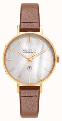 Acctim Womens Bonny Radio Controlled Brown Leather Watch 60516