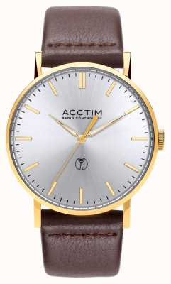 Acctim Mens Sterling Radio Controlled Brown Leather Watch 60428