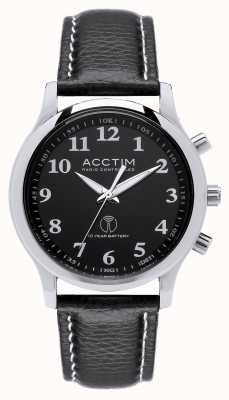 Acctim Mens Oro Radio Controlled Black Leather Strap Watch 60053