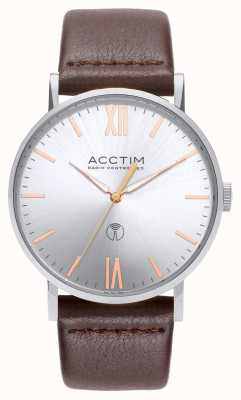 Acctim Mens Sterling Radio Controlled Brown Leather Watch 60416