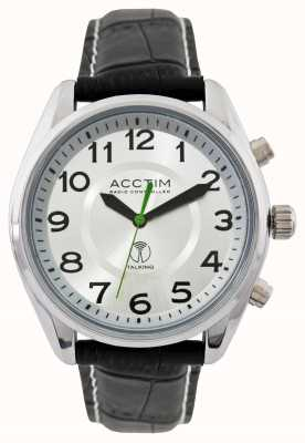 Acctim Mens Highclere Radio Controlled Talking Black Leather Watch 60357