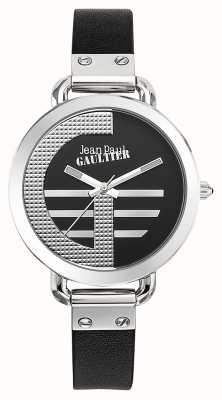 Jean Paul Gaultier Womens Index G Black Leather Strap Black Dial JP8504315