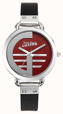 Jean Paul Gaultier Womens Index G Black Leather Strap Red Dial JP8504320