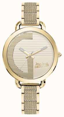 Jean Paul Gaultier Womens Index G Gold PVD Bracelet Gold Dial JP8504322